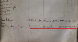 Extract from Land Index showing first & surname of the parti